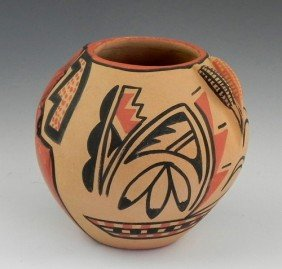 Native American Painted Pottery Bowl, 20th C., By C