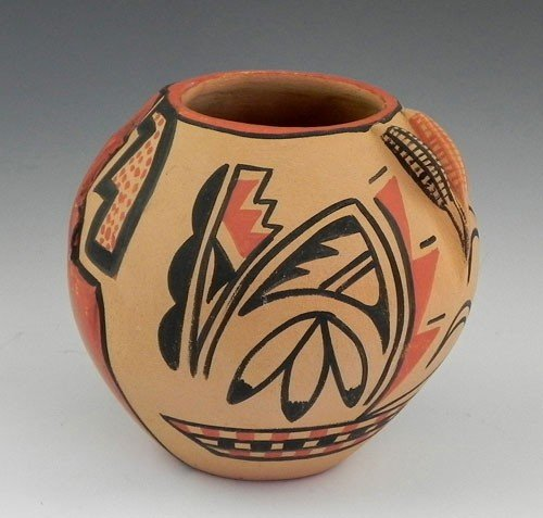 26: Native American Painted Pottery Bowl, 20th c., by C
