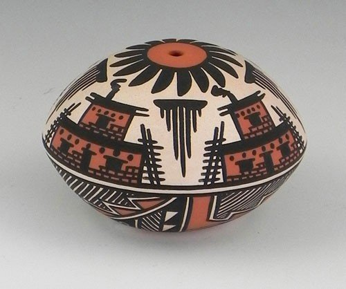 28: Native American Painted Pottery Bowl, 1993, by Terr