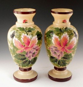 Pair Of English Bristol Glass Baluster Footed Vases