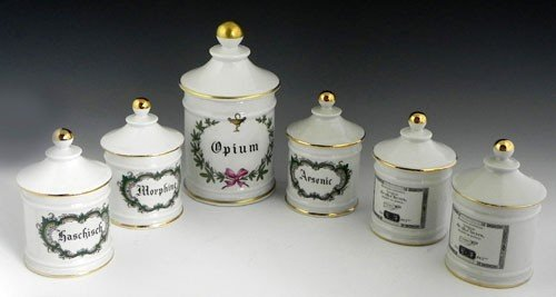 35: Set of Six Limoges Porcelain Apothecary Jars, 20th