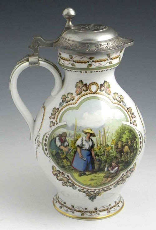 36: German Porcelain Wine Pitcher, 20th c., with a reli