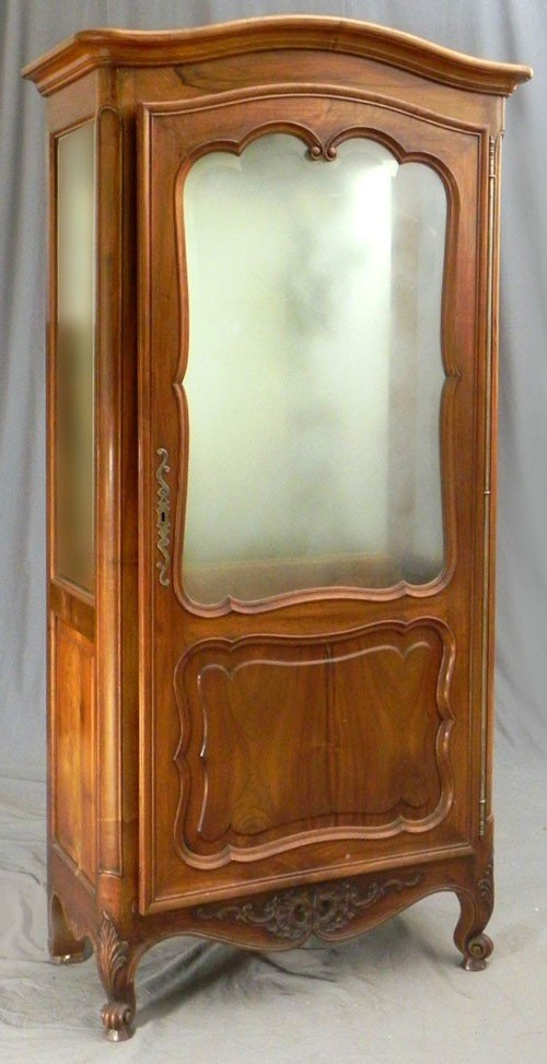 37: Louis XV Style Carved Walnut Curio Cabinet, early 2