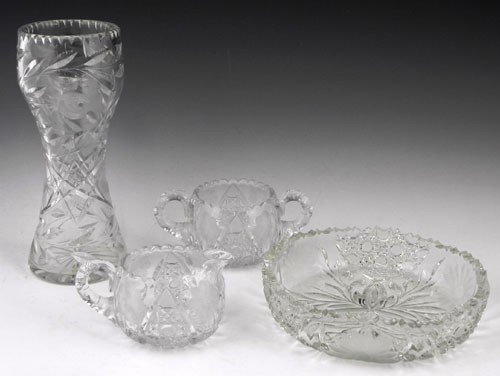 39: Group of Four Pieces of Cut Glass, 20th c., consist