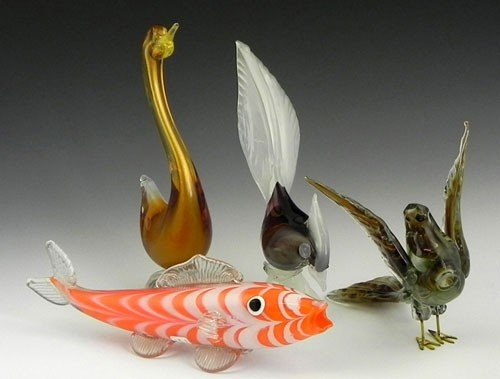 40: Group of Four Murano Glass Animals, mid 20th c., co