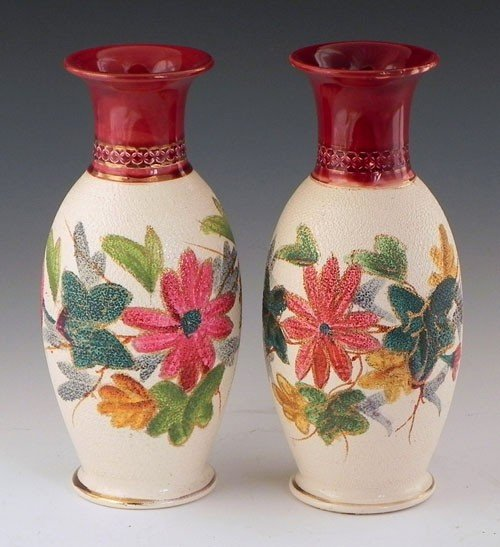 41: Pair of Baluster Form Tapestry Vases, 20th c., with