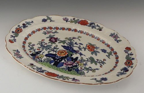 46: English Oval Ironstone Platter, c. 1910, by Booth's