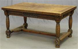 74: French Provincial Carved Oak Draw Leaf Table, early