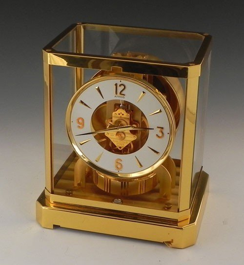 389: LeCoultre Atmos Brass and Glass Mantel Clock, Ser.