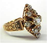 620 Ladys 14K Rose Yellow Gold and Enamel Dinner Rin