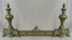 731 Three Piece Louis XV Style Bronze Chenet Set 19th