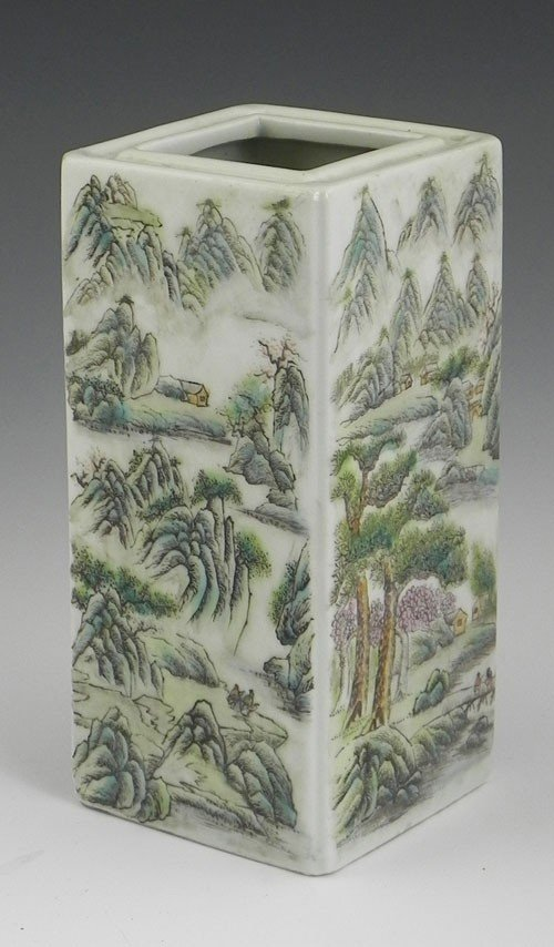 752: Chinese Porcelain Rectangular Vase, late 19th c.,