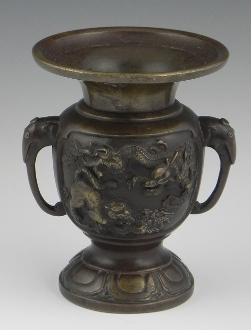 757: Japanese Bronze Baluster Urn, 19th c., with elepha