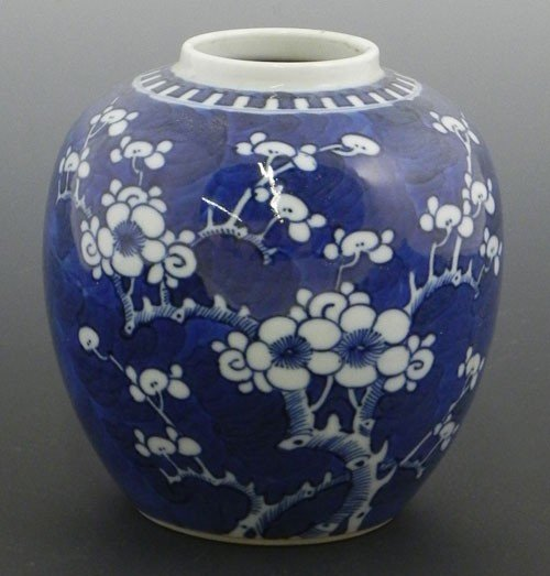 758: Chinese Baluster Ginger Jar, 19th c., with floral