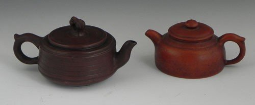 759: Two Diminutive Yi Xing Glazed Clay Teapots, 20th c