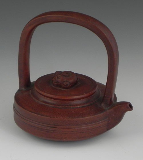 760: Y Xing Glazed Clay teapot, 20th c., the lid with a