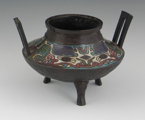 761: Japanese Bronze and Champleve Footed Handled Balus