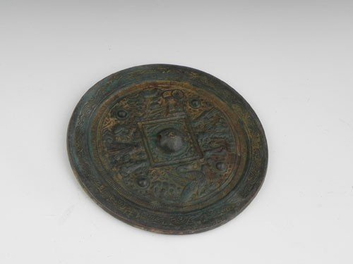 762: Chinese Bronze Circular Mirror, 19th c., one side