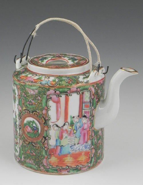 766: Rose Medallion Porcelain Teapot, early 20th c., wi