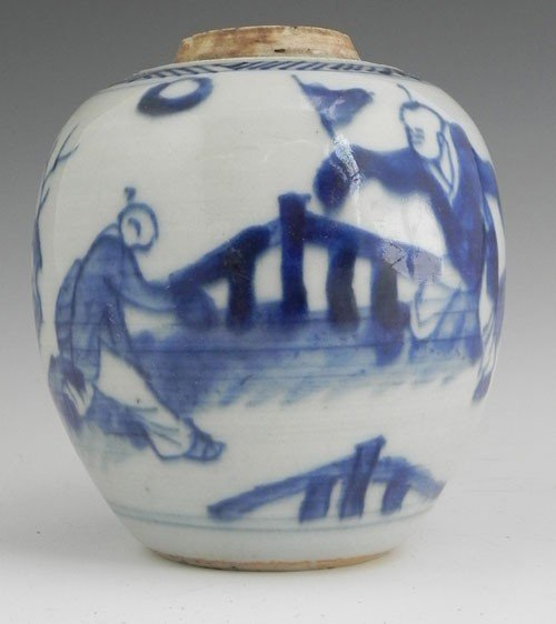 768: Chinese Porcelain Ginger Jar, 19th c., the sides w