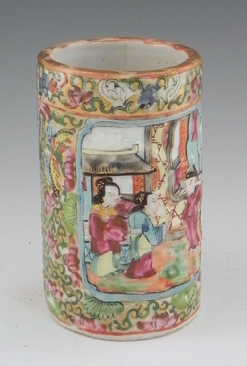770: Canton Porcelain Brush Pot, 19th c., with relief p