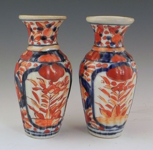 771: Pair of Diminutive Imari Porcelain Baluster Vases,