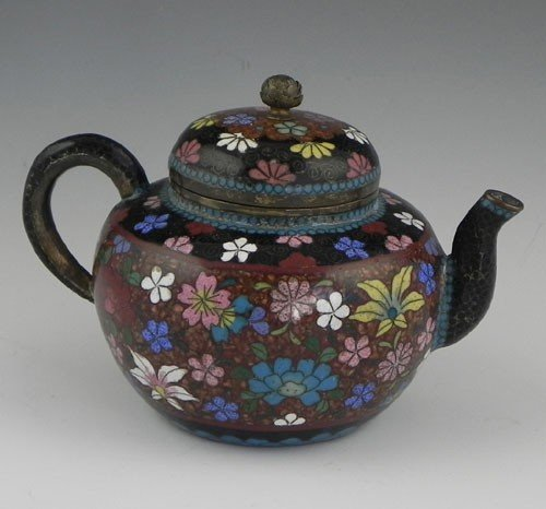 772: Diminutive Cloisonné Teapot, 19th c., with floral