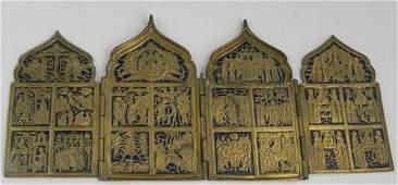 995 Russian Cast Bronze and Enamel Four Panel Folding