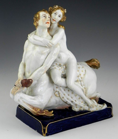 1055: Meissen Polychromed Porcelain Figure, 19th c., of