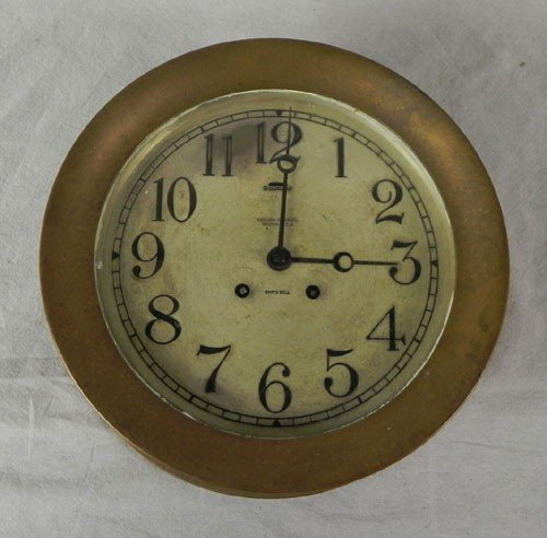 1111: Chelsea Brass Ship's Clock, early 20th c., time a