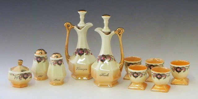 1: Ten Piece French Porcelain Condiment Set, early 20th