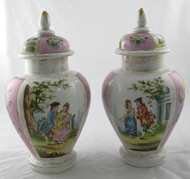2: Pair of French Baluster Form Porcelain Covered Jars,
