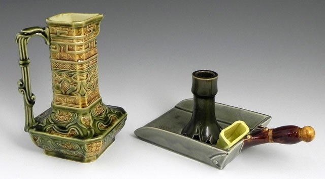 5: Two Pieces of Majolica, 19th c., consisting of a squ