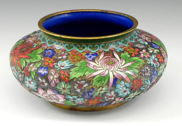 12: Unusual Cloisonné and Brass Bowl, 20th c., with bri