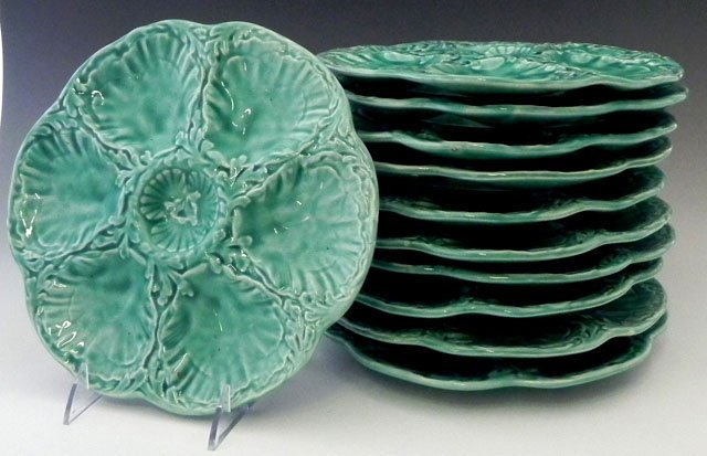 15: Set of Eleven Majolica Oyster Plates, 20th c., by G