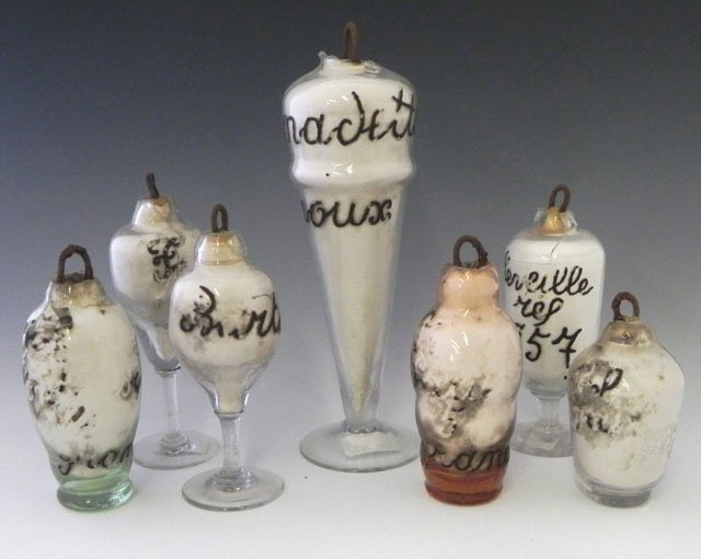 22: Group of Seven Glass Blower's Samples, 19th c., des