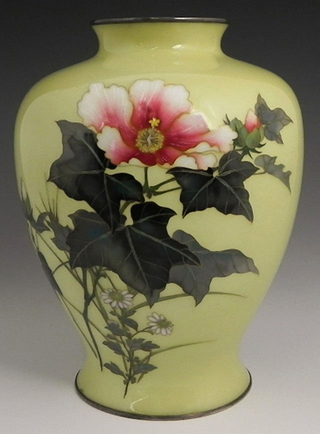 23: Oriental Cloisonne Vase, late 19th c., with hibiscu