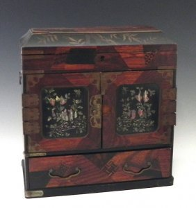 Oriental Lacquered And Inlaid Mahogany Jewelry Box,