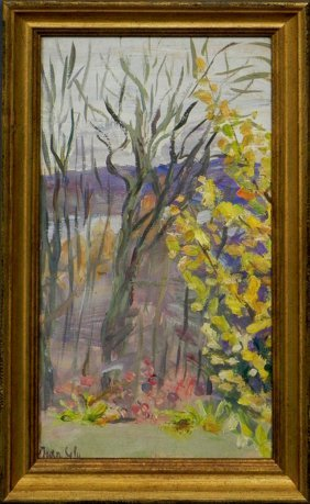 "Jean Sely, ""Floral Landscape,"" 20th C., Oil On Boar"