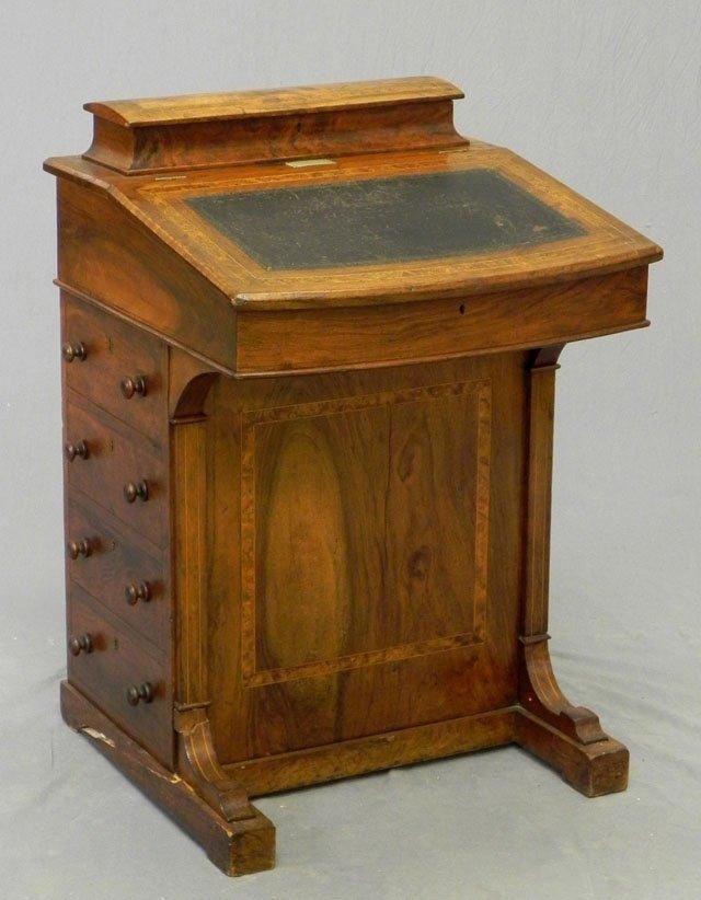 48: Inlaid Walnut Davenport Desk, c. 1895, the top with