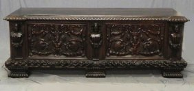 Large Continental Renaissance Style Carved Walnut C