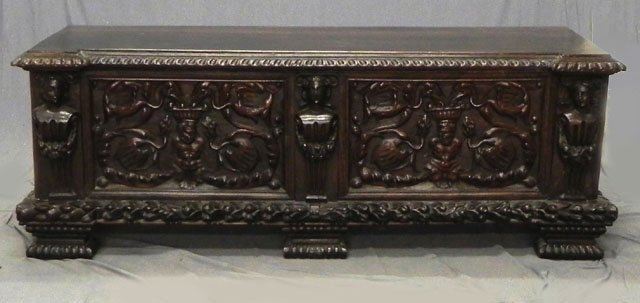 49: Large Continental Renaissance Style Carved Walnut C