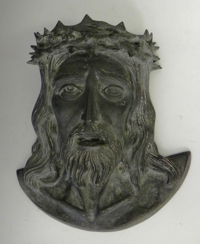 50: Bronze High Relief Bust of Jesus, early 20th c., H.