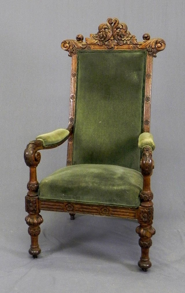 51: English Well Carved Oak Armchair, c. 1870, with a p