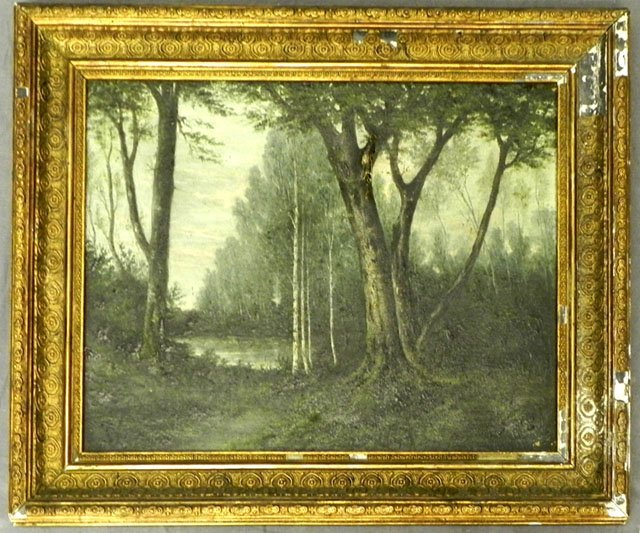"52: Bonvons, ""Forest Lake Scene,"" 19th c., oil on canva"