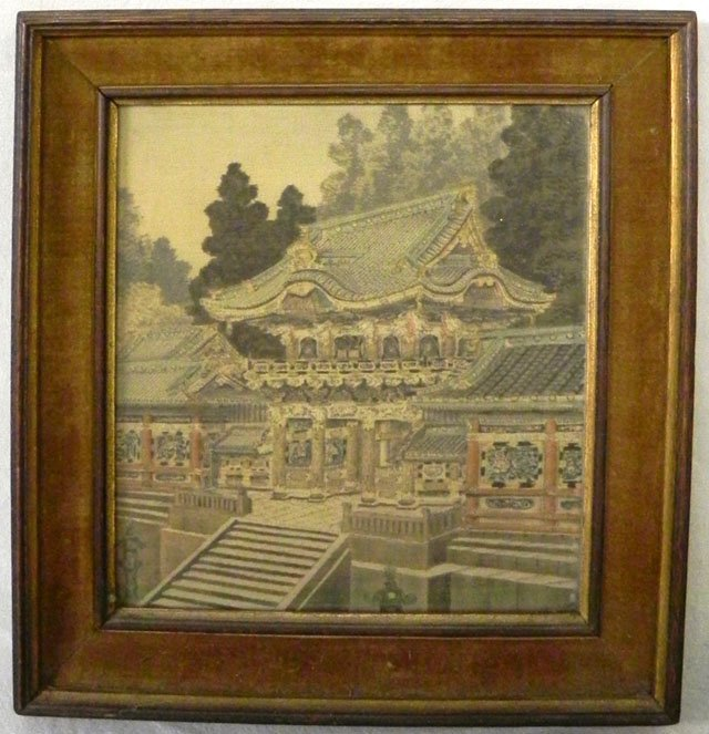 54: Chinese Woven Cloth Picture, 19th c., of a palace,