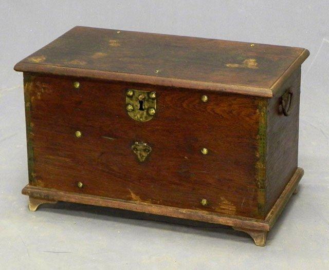 57: Carved Walnut Document Box, 19th c., with folding i