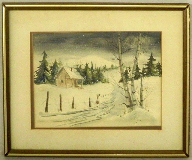 """59: Johnson, """"Snowy Winter Landscape,"""" early 20th c., w"""