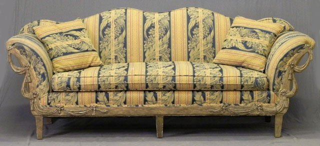 61: French Style Double Camelback Settee, 20th c., the