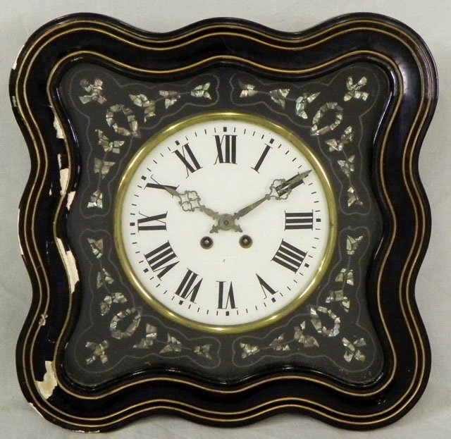 "62: Napoleon III ""Oil de Boeuf"" Ebonized Wall Clock, c."